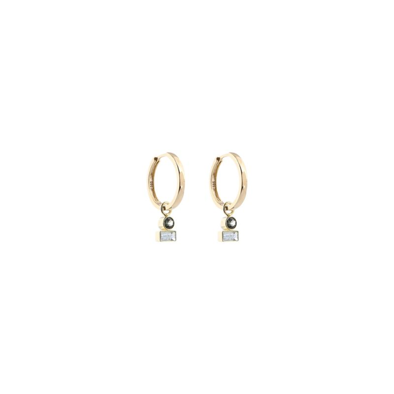 GOLD creoles S birthstone double