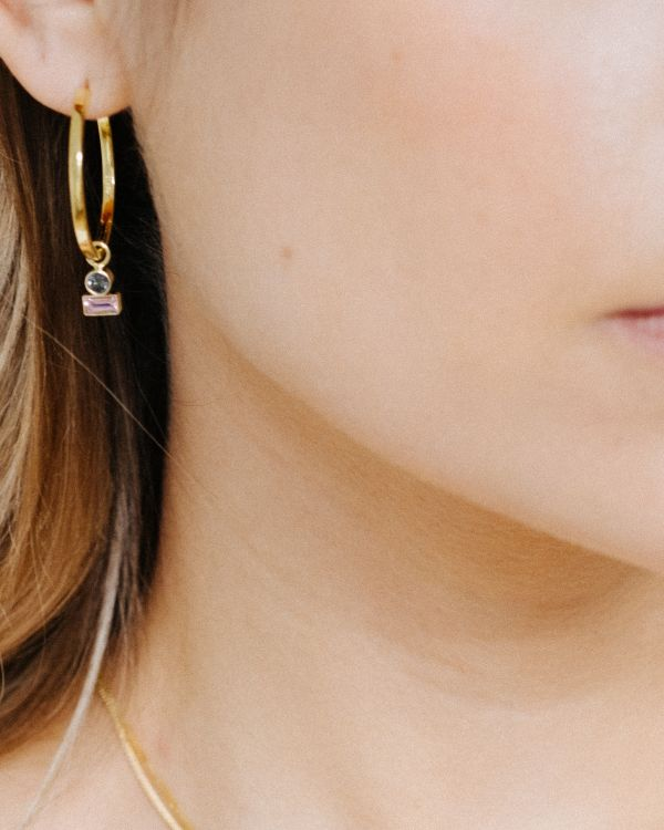 NIMZU GOLD hoops L birthstone double